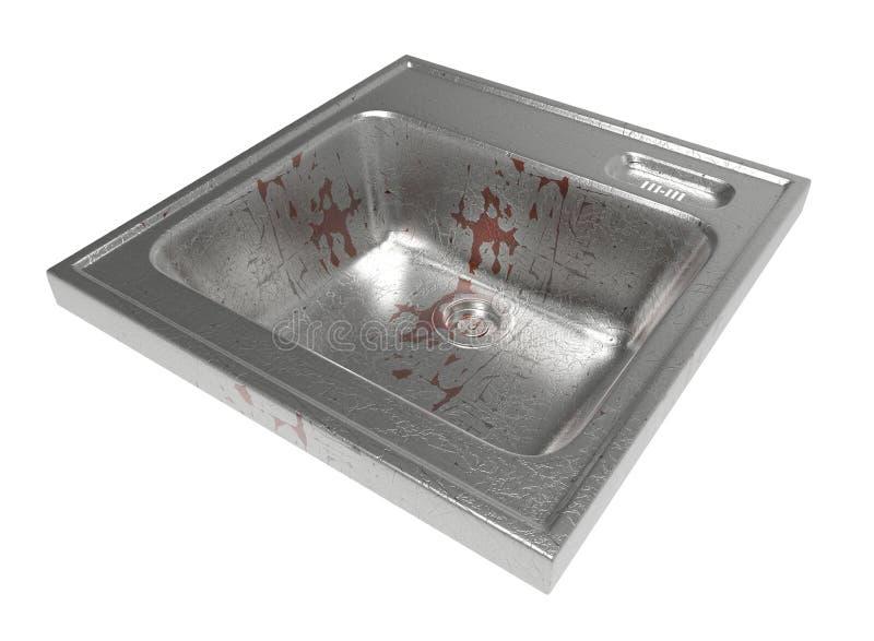 Fregadero de cocina aislado en el fondo blanco Fácil de utilizar Metall housework ilustración 3D ilustración del vector