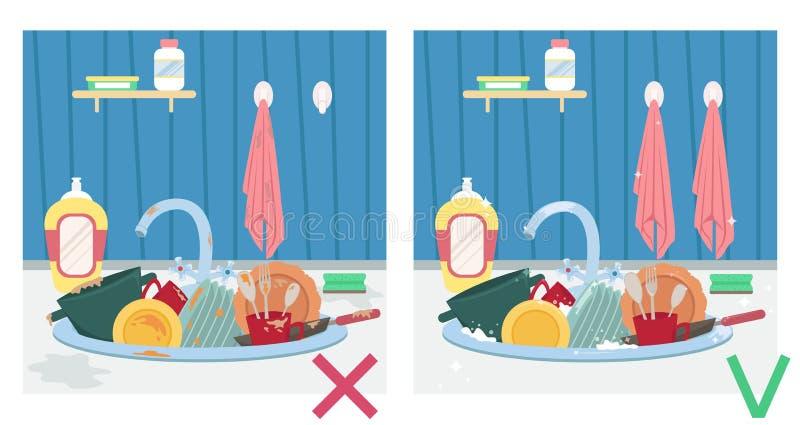 Fregadero de cocina con los platos sucios y los platos limpios Ejemplo antes y después housework ilustración del vector