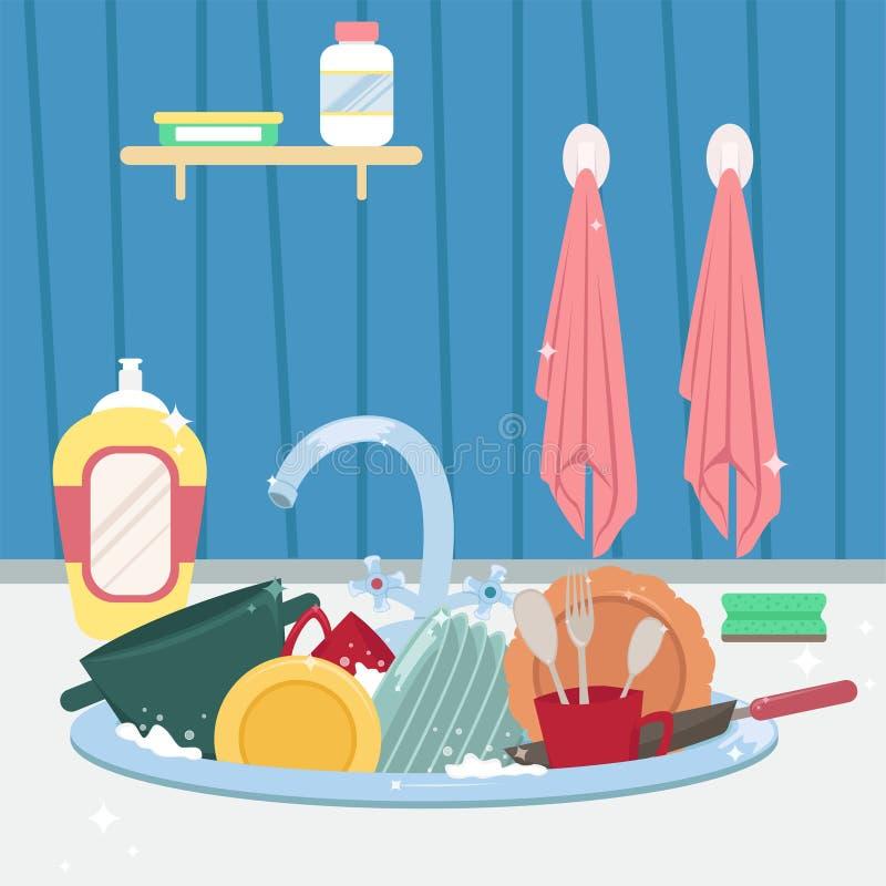 Fregadero de cocina con los platos y las toallas limpios housework libre illustration