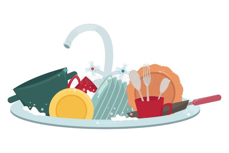 Fregadero de cocina con los platos y las toallas limpios housework stock de ilustración