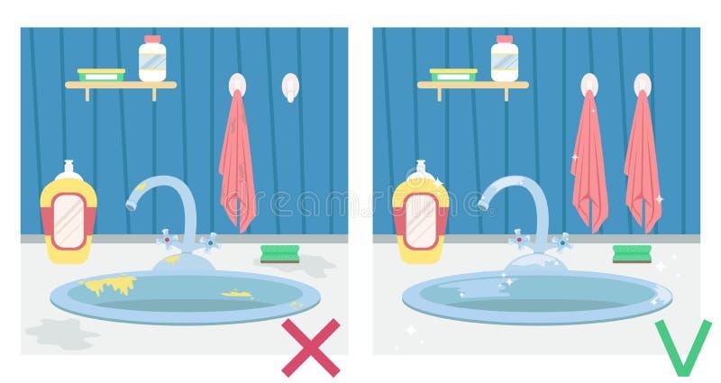 Fregadero de cocina sucio y fregadero limpio Ejemplo antes y después housework ilustración del vector