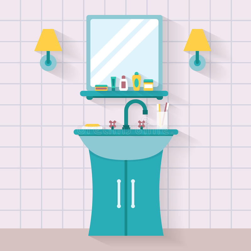 Fregadero Del Cuarto De Baño Con El Espejo Ilustración del ...