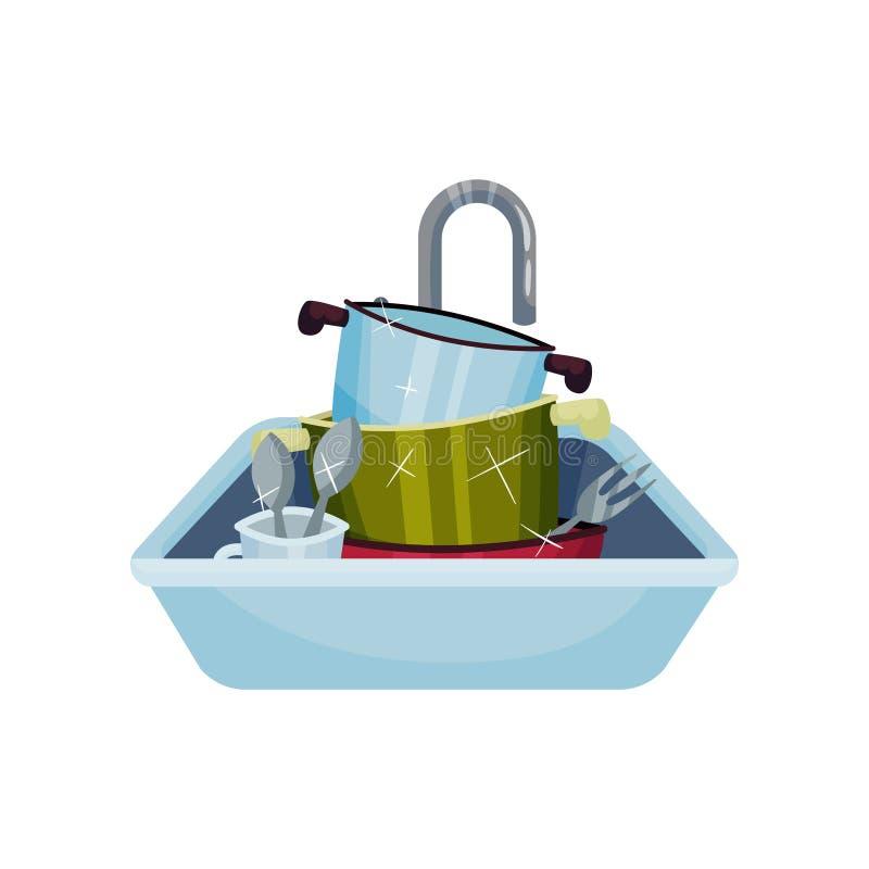 Fregadero por completo de platos brillantes limpios Ilustraci?n del vector en el fondo blanco libre illustration