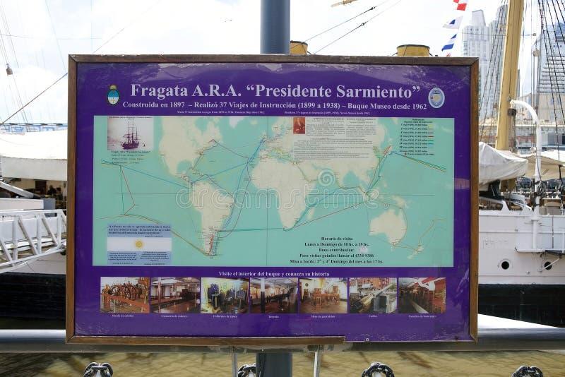 Fregat ARA Presidente Sarmiento in Puerto Madero, Buenos aires, Argentinië stock foto