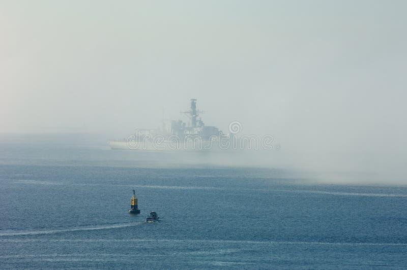 Fregat in de Mist in Plymouth-Geluid stock fotografie