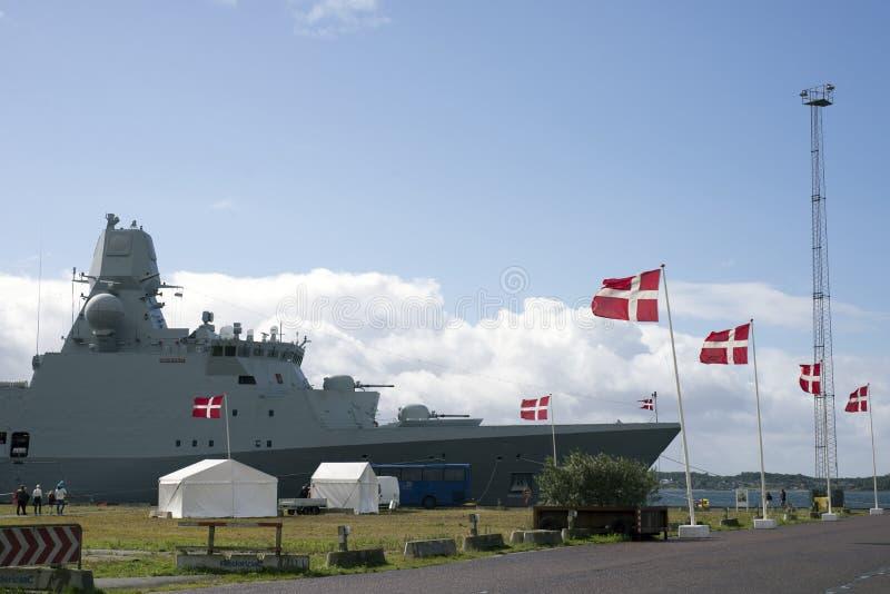 Fregat in Fredericia royalty-vrije stock foto's