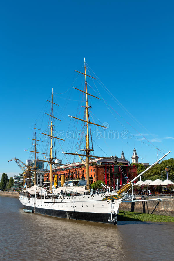 Fregat President Sarmiento Puerto Madero, Buenos aires Argentin stock foto's