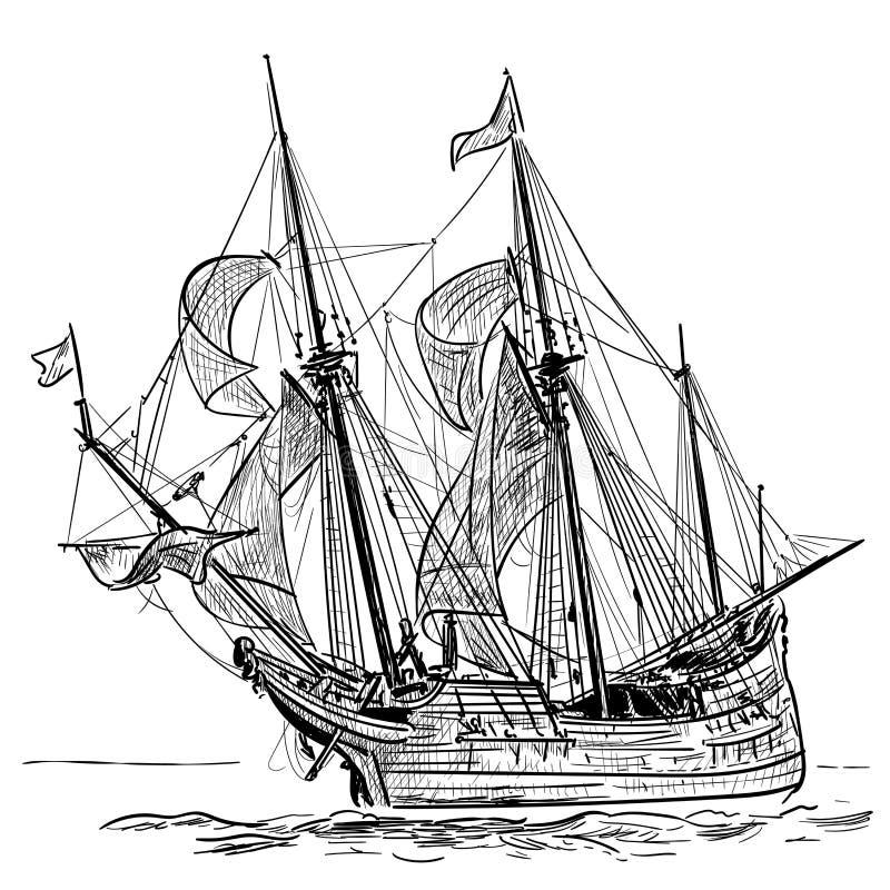 Fregata d'annata della nave di navigazione sulle onde Illustrazione disegnata a mano di vettore Schizzo della mano Illustrazione royalty illustrazione gratis
