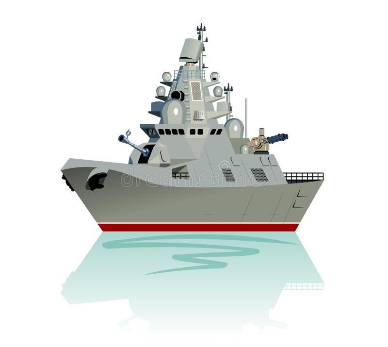Fregata militare moderna del fumetto di vettore isolata su bianco illustrazione vettoriale