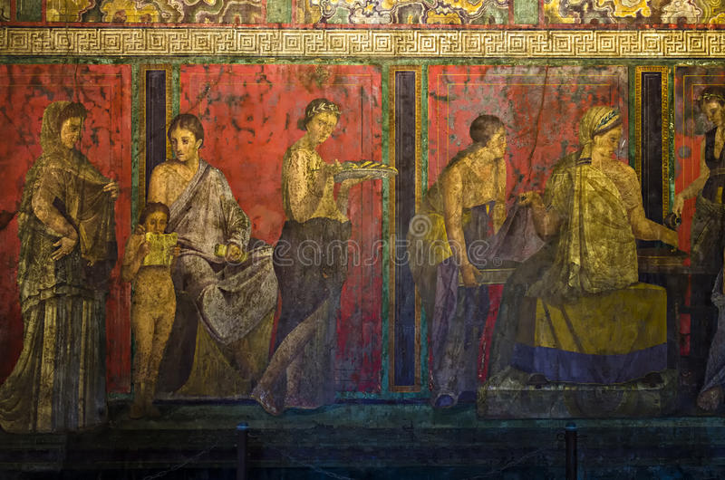 Fregio di Dionysiac, villa dei misteri, Pompei fotografia stock libera da diritti