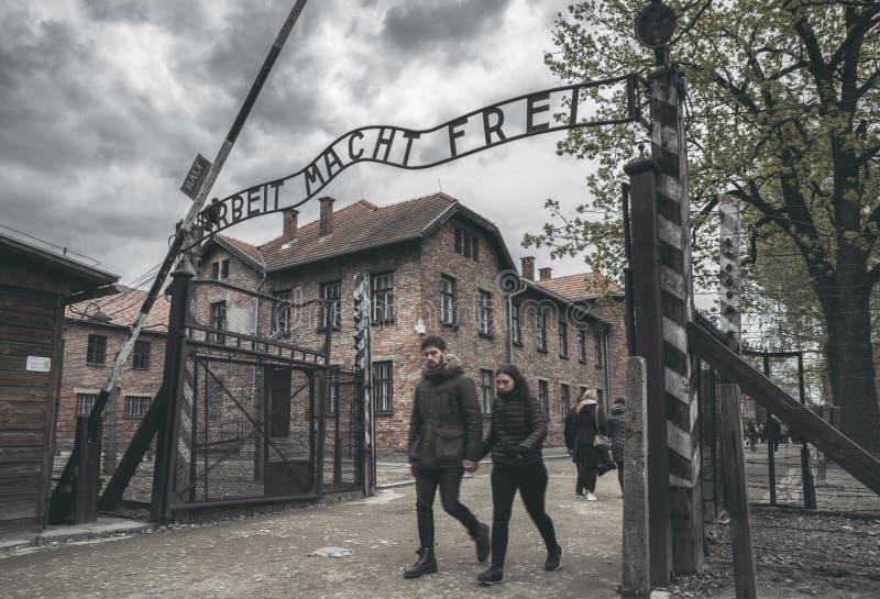 Frei del macht de Arbeit - campo de concentración en Auschwitz I, Polonia imagen de archivo libre de regalías