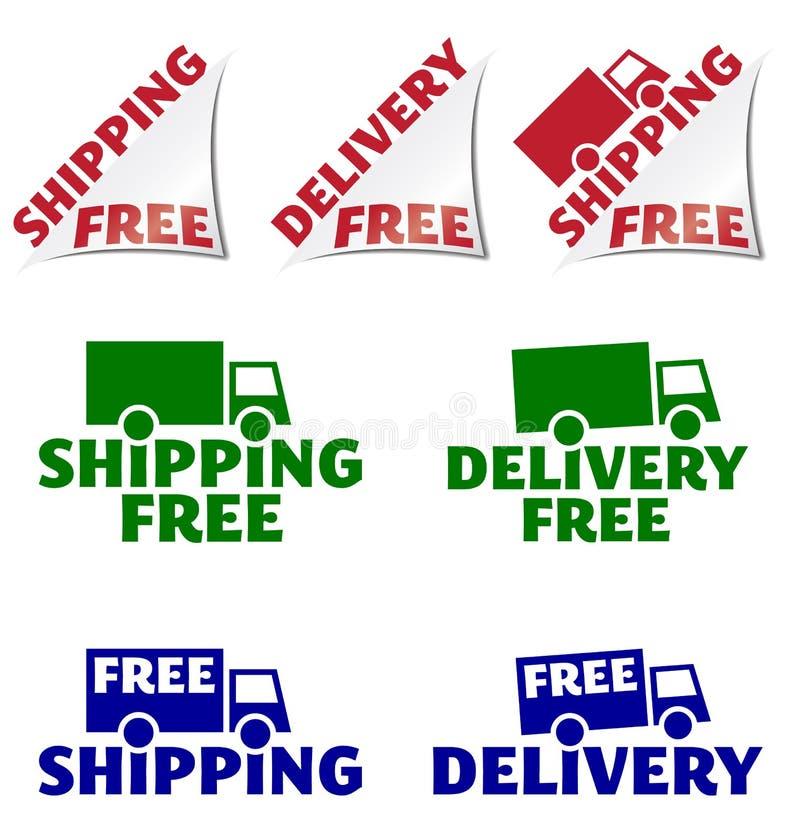 Frei frei versenden, Ikonen der Lieferung stock abbildung