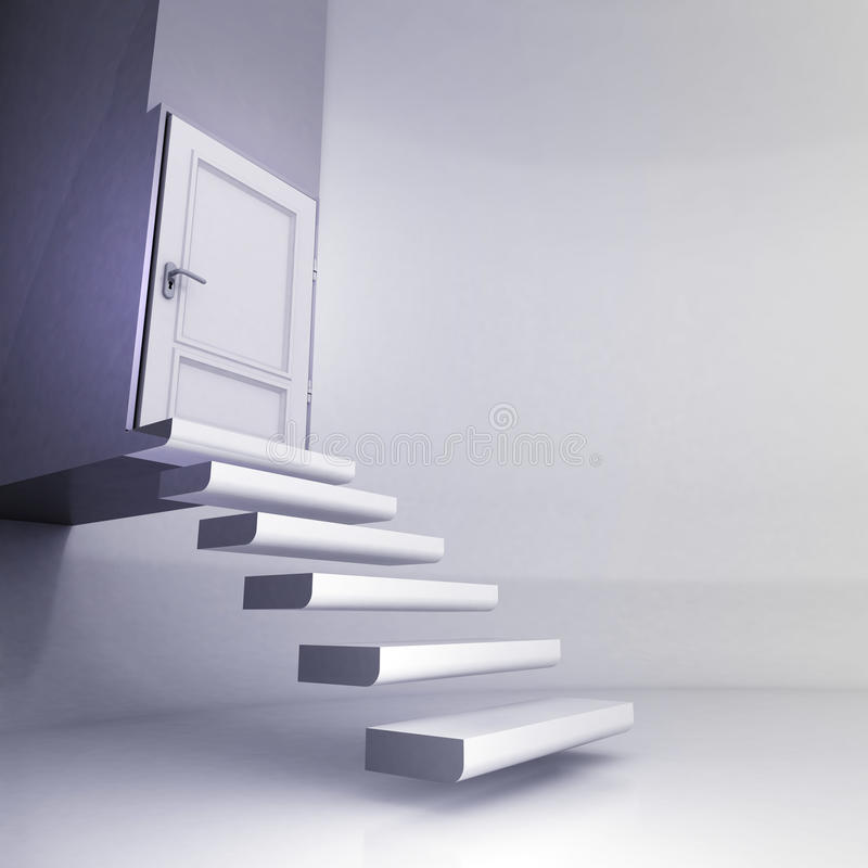 Frei schwebende Treppe im Begriffsraum mit geschlossener Tür lizenzfreie abbildung