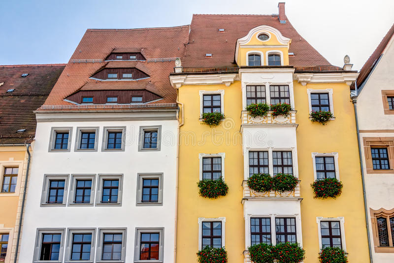 Freiberg old town. At the Obermarkt in Saxony, Germany royalty free stock images