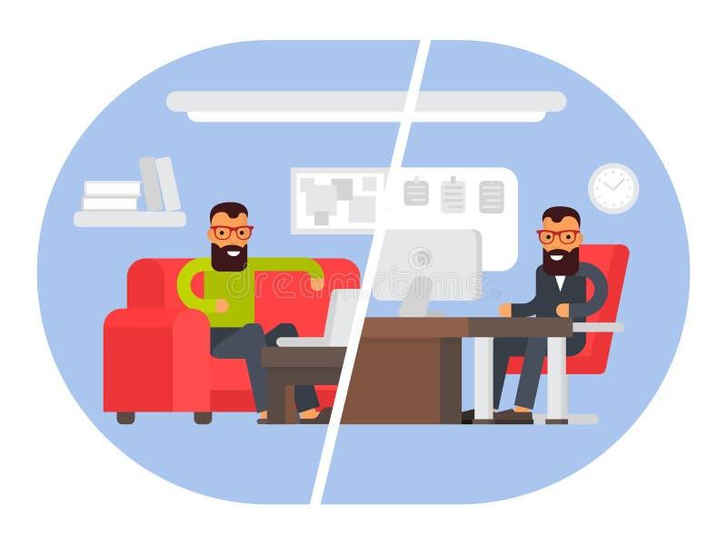 Freiberufler gegen Geschäftslokal Vergleichen der Fernarbeit mit freiberuflich tätigem Arbeitsplatz Flache Designvektorillustrati lizenzfreie abbildung