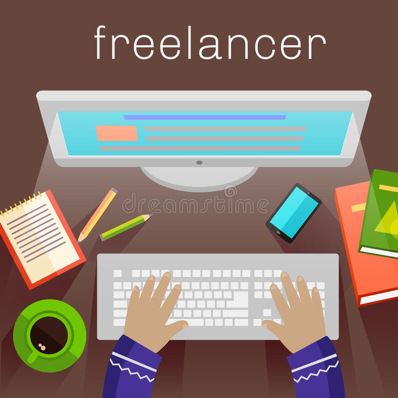 Freiberufler, Werbetexter, Journalist am Computer vektor abbildung