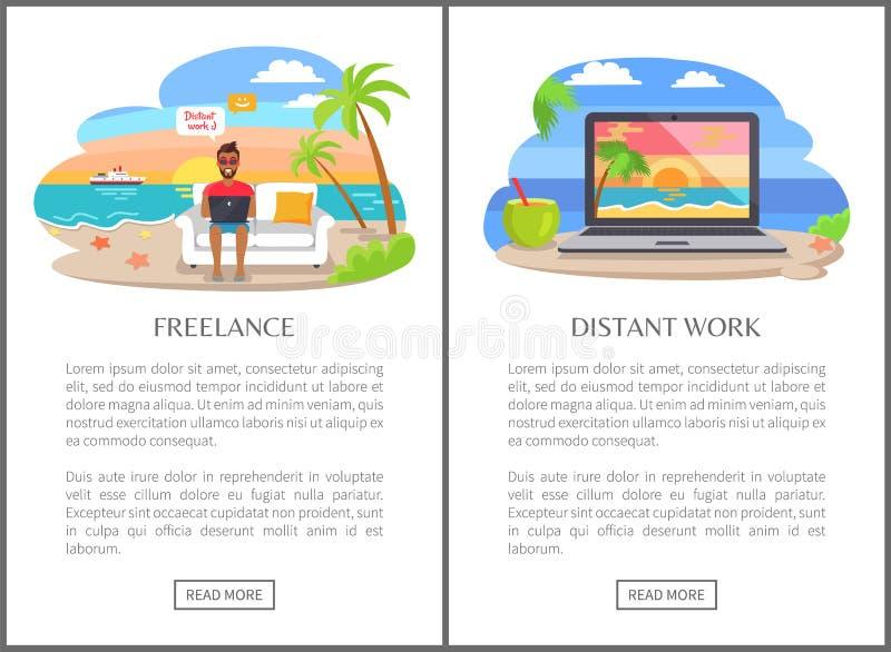 Freiberuflich tätige und entfernte Arbeit als moderner Jobs Promo stock abbildung