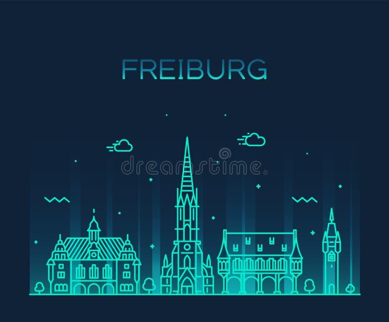 Freiburg Breisgau Baden miasta Niemcy liniowy wektor ilustracja wektor