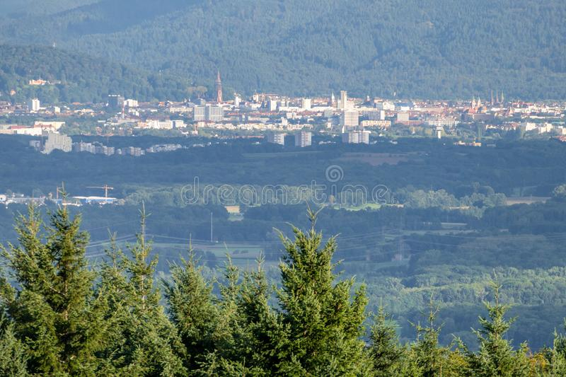 Freiburg Germany in the distance. An image of Freiburg Germany in the distance stock photos