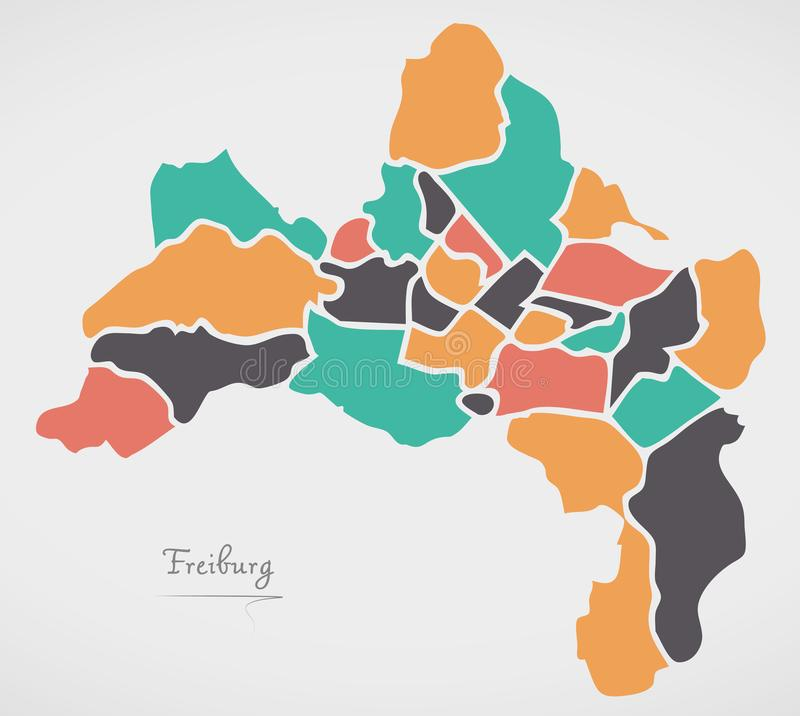 Freiburg Map with boroughs and modern round shapes. Freiburg Map with boroughs and modern round stock illustration