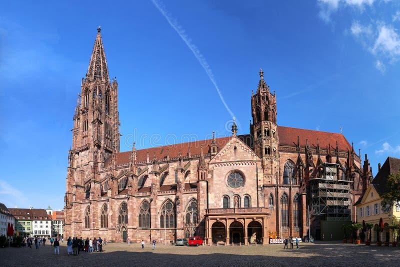 Freiburg minster without scaffoldingFreiburg minster without scaffolding on the tower stock images