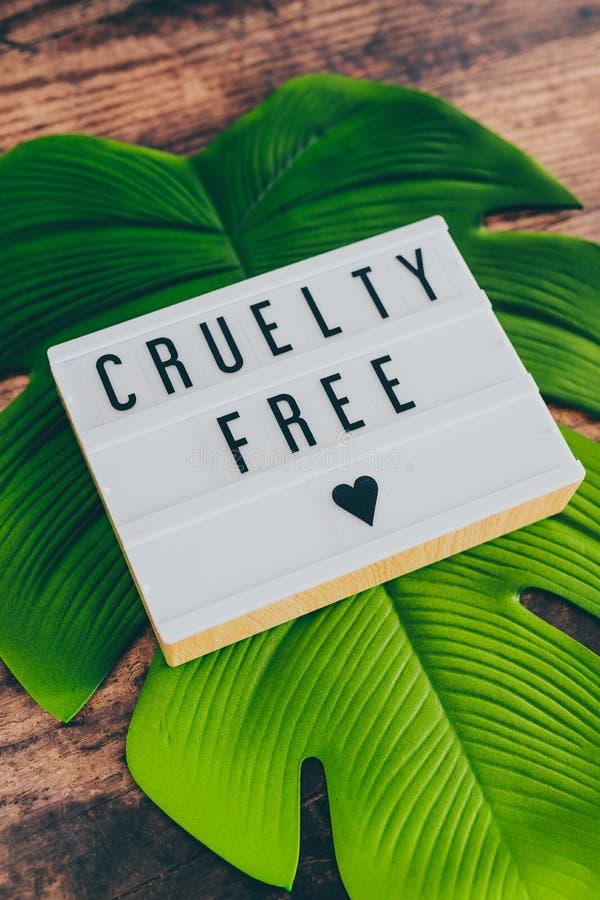 Freie Mitteilung der Grausamkeit auf lightbox mit Blatt und Holz, Konzept von Ethik des strengen Vegetariers lizenzfreies stockbild