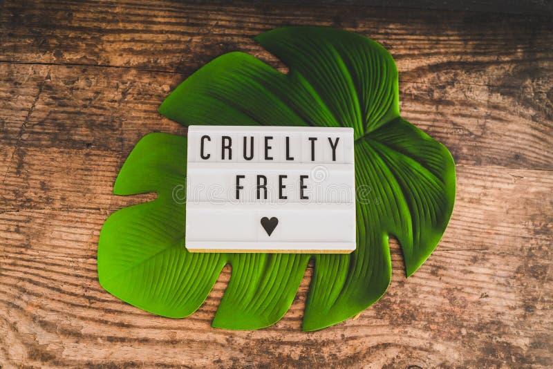 Freie Mitteilung der Grausamkeit auf Produkten und Ethik lightbox strengen Vegetariers lizenzfreies stockfoto