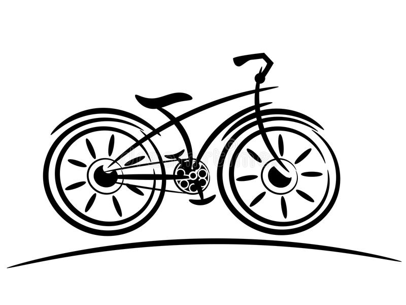 Freie Skizze des Fahrrades lokalisiert lizenzfreie abbildung