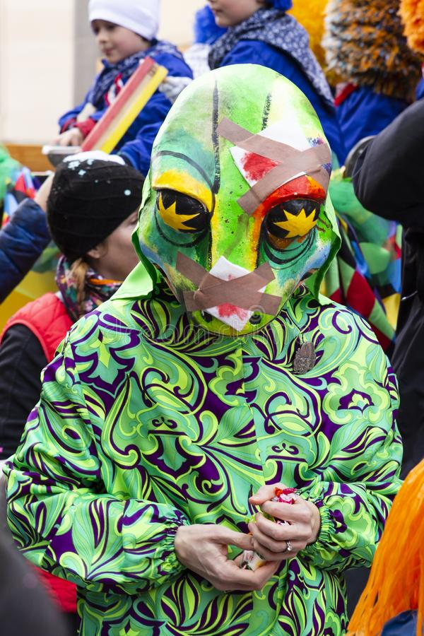 Basel carnival 2019 single green lizard mask stock image