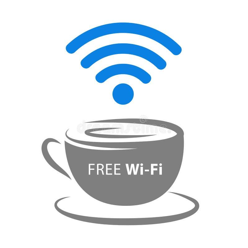 Freie Wi-Fizonenikone mit Kaffeetasse und blauem drahtlosem Signal vektor abbildung