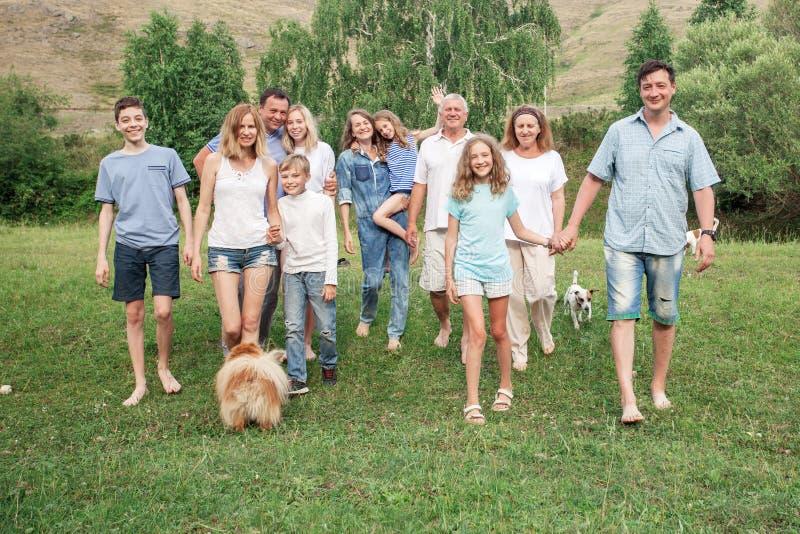 Freien der großen Familie mit Hunden lizenzfreie stockbilder