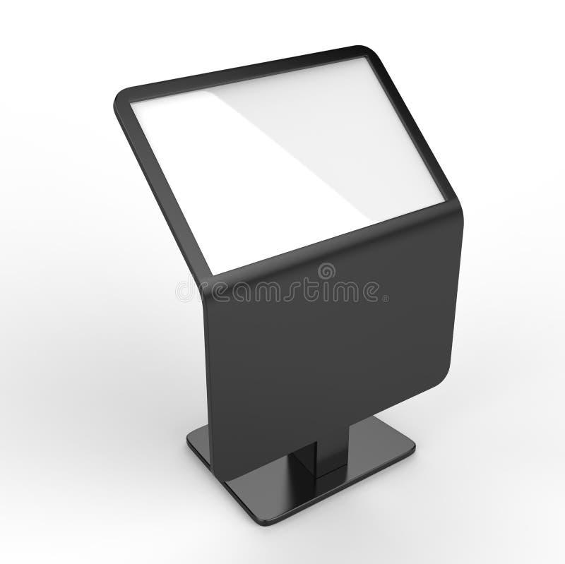 Freier Boden, der LCD-Touch Screen Kiosk steht 3d übertragen Abbildung lizenzfreie abbildung