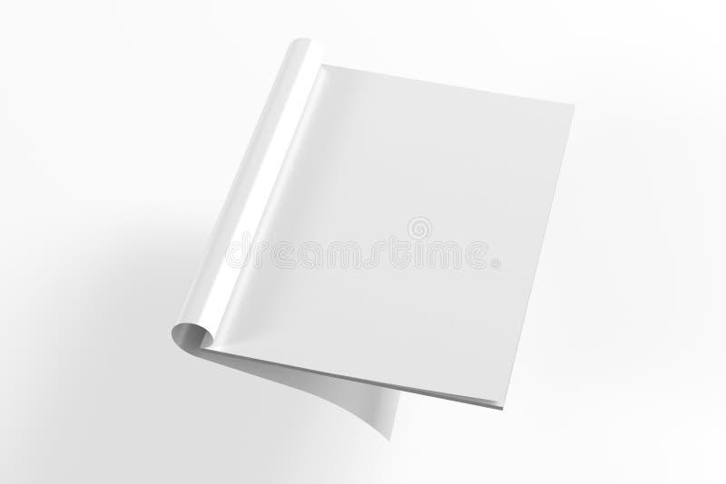Freier Raum öffnete volle Drehung Zeitschrift, die auf Weiß lokalisiert wurde stock abbildung