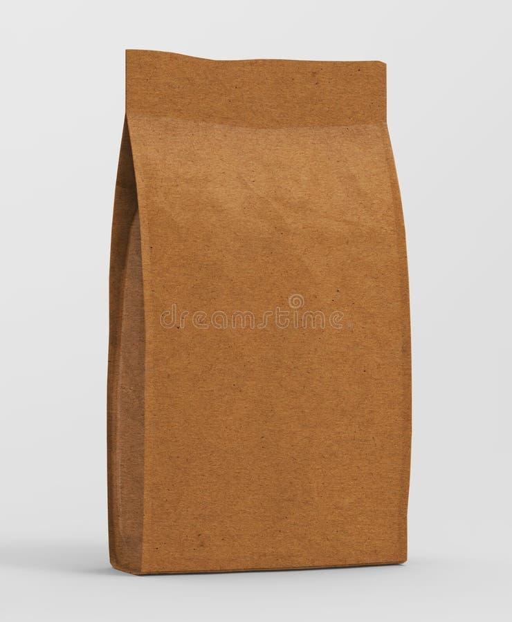 Freier Raum bereiten braunes Papiertüte Lebensmittel stehen oben Beutel-Snack-Kissen-Taschen-Verpackung auf stock abbildung