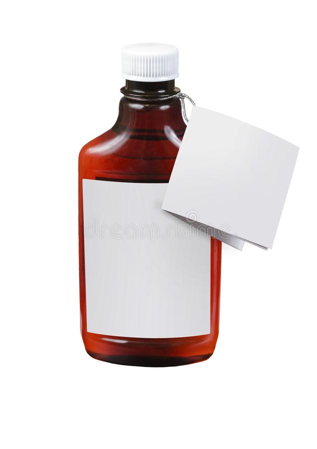 Freier Raum, der braunes transparentes Plastikglas mit der weißen Kappe lokalisiert auf weißem Hintergrund verpackt stockfoto