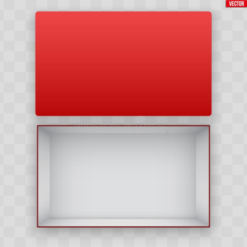 Freier Raum des offenen roten Schuhkartons lizenzfreie abbildung