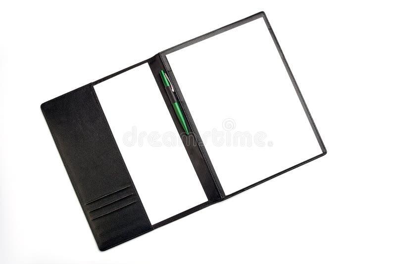 Freier Raum, Stift, Blatt Papier, Ordner stockbild