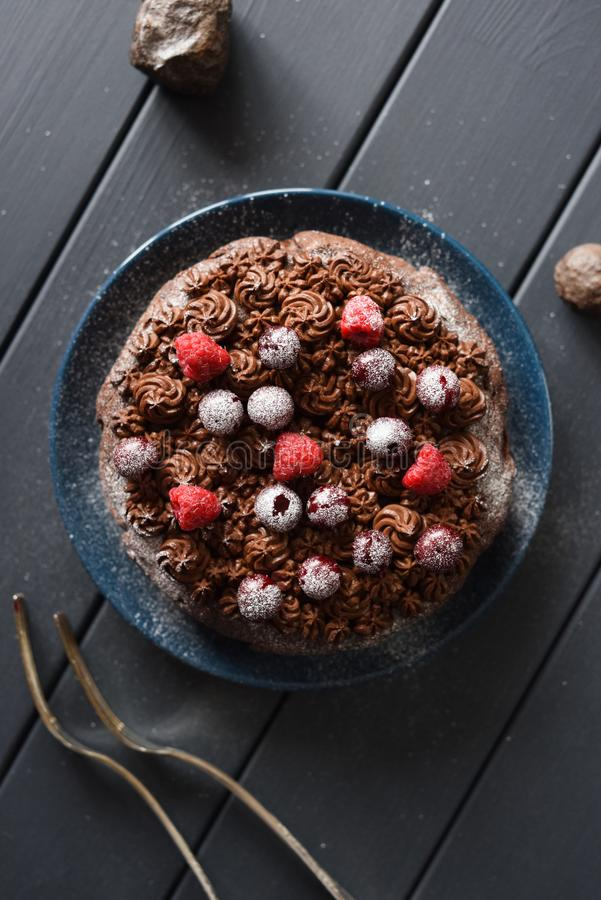 Freier schwach gezuckerter Schokoladenkuchen des selbst gemachten Glutens mit der Schokoladenzuckerglasur und rohe Kirschen und H lizenzfreie stockbilder