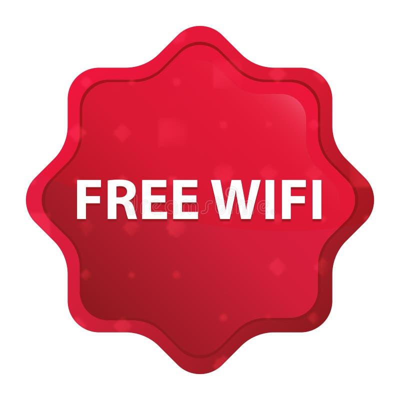 Freier starburst Wifi nebelhafter rosafarbener roter Aufkleberknopf lizenzfreie abbildung