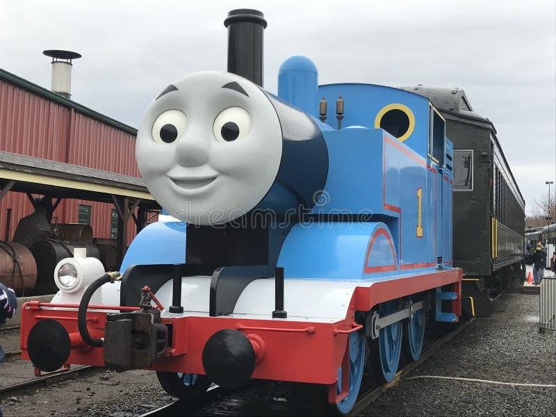 Freier Tag mit Thomas am Essex-Dampf-Zug in Connecticut lizenzfreie stockfotos