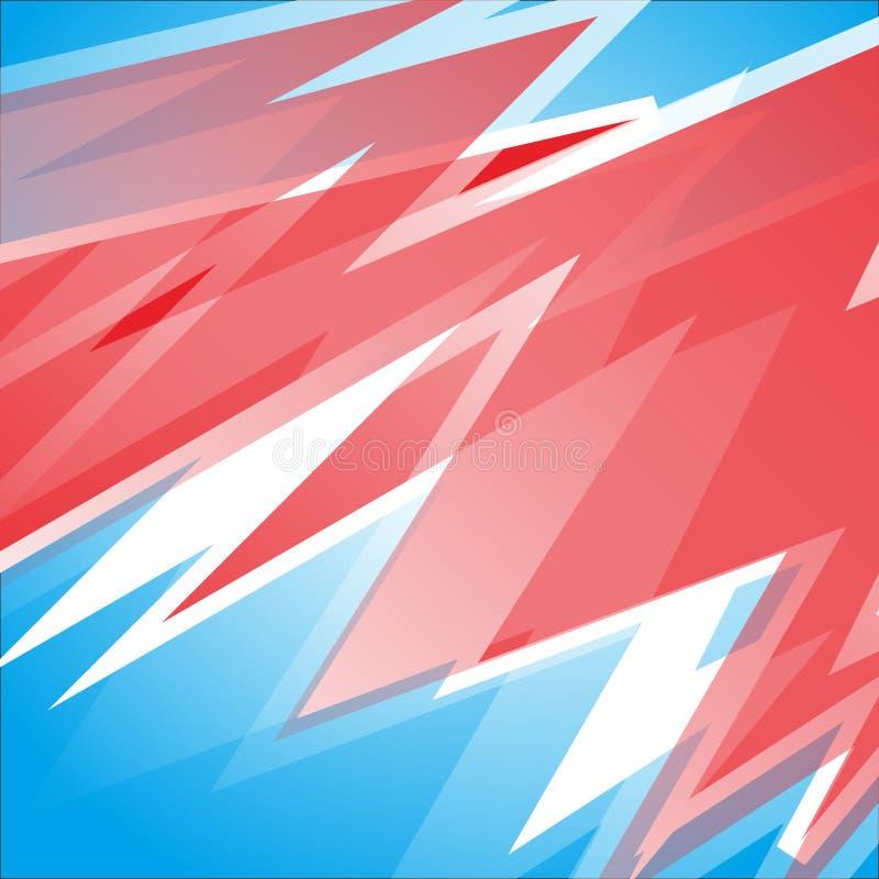 Freier Vektor des abstrakten laufenden Streifenhintergrundes blaue, rote und weiße Farb stock abbildung