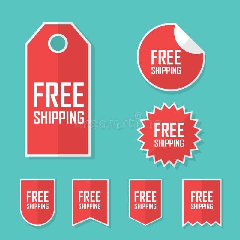 Freier Verschiffenaufkleber Transportkostenlieferung keine Gebühr Modernes flaches Design, rote Farbtag Werbung fördernd vektor abbildung