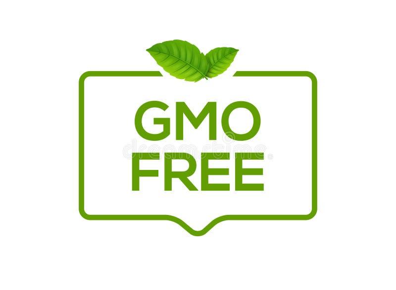 Freies Ikonenlogo GMOs Nicht GVO-Lebensmittelkennzeichnungssymbol Gesunde Nahrung des organischen grünen Stempelentwurfs mit Blat vektor abbildung