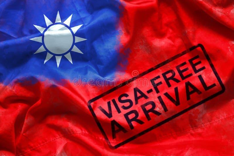 Freies Visum für Besucher zum Eintritt zu Taiwan-Land, freier Ankunftsstempel des Visum auf Taiwan-Flaggenhintergrund Überseereis lizenzfreies stockbild