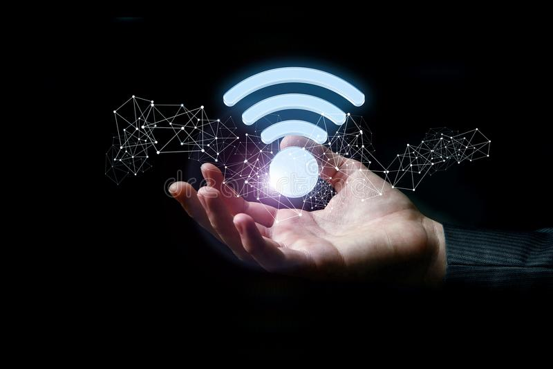 Freies wifi unterzeichnen herein die Hand stockbilder