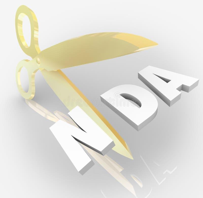Freigaben-Vereinbarung NDA nicht Scissors Ausschnitt-Buchstabe-Akronym lizenzfreie abbildung