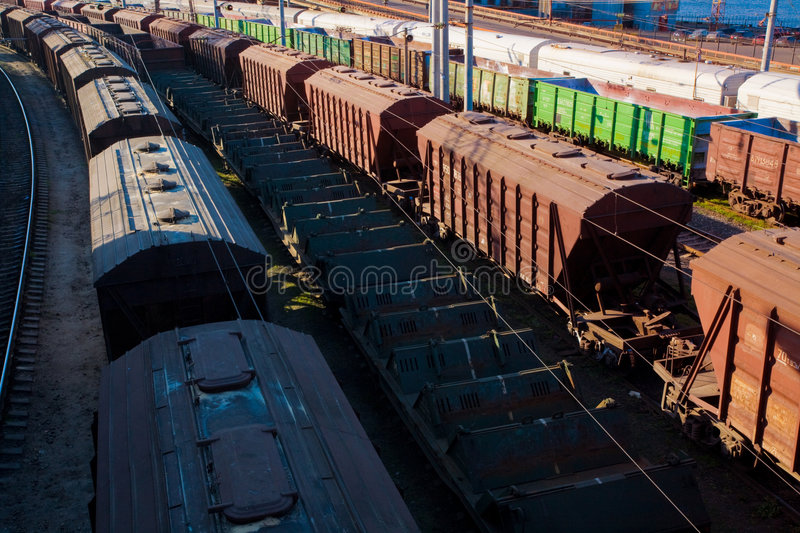 Freight car. Transport series: freight car on the railroad station royalty free stock photography