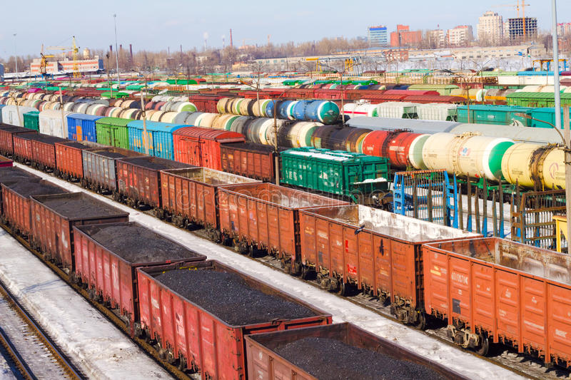 Freight Cars 9. Freight cars in cargo port in the early spring stock photo