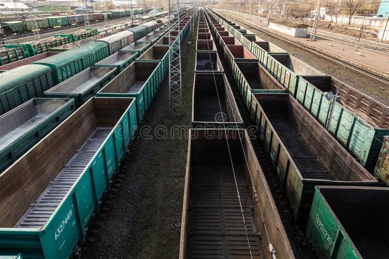 Freight cars at a large railway station. Cargo transportation and railway trains.  stock photo