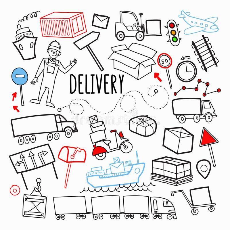Freight Delivery Shipping Hand Drawn Doodle. Logistic Industry Elements. Transportation, Container, Delivering Service stock illustration